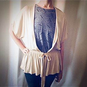 Arianne Oatmeal Tie Front Cardigan Size S/M